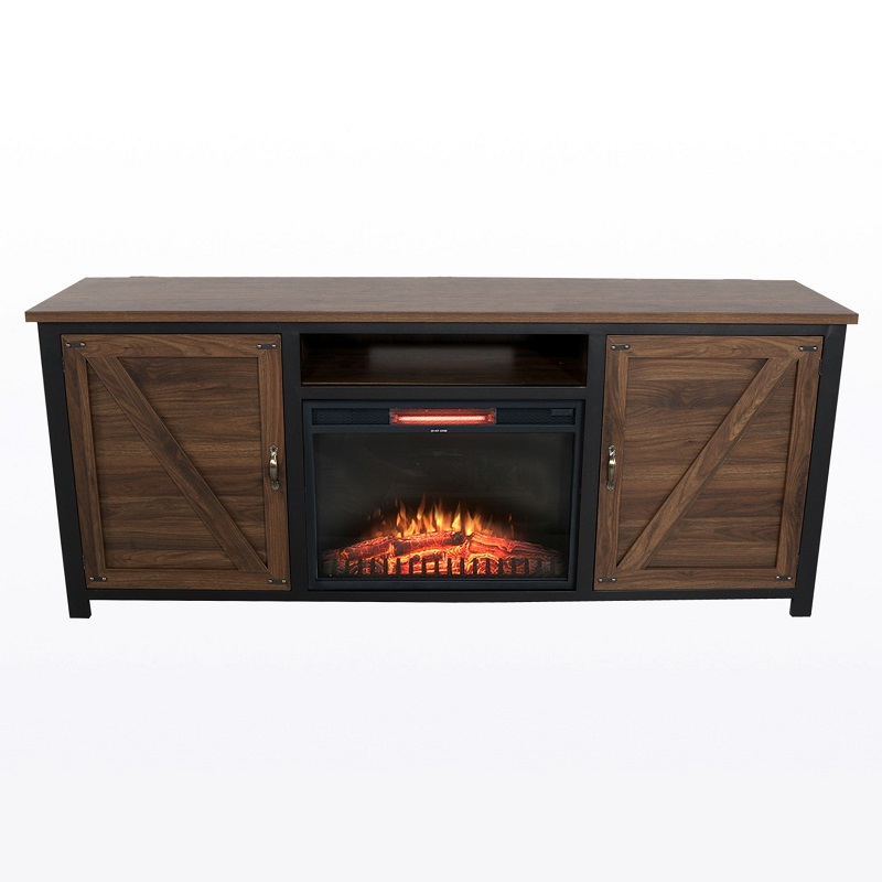 Fireplace Console with Barn Doors