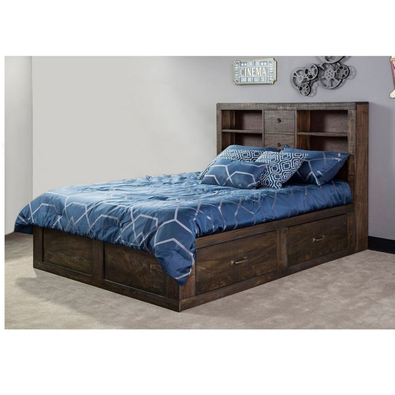 Queen-Size Captains Bookcase Storage Bed