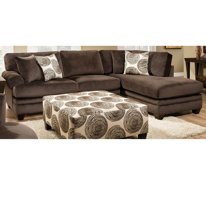 Albany Plush Two Piece Sectional with Ottoman