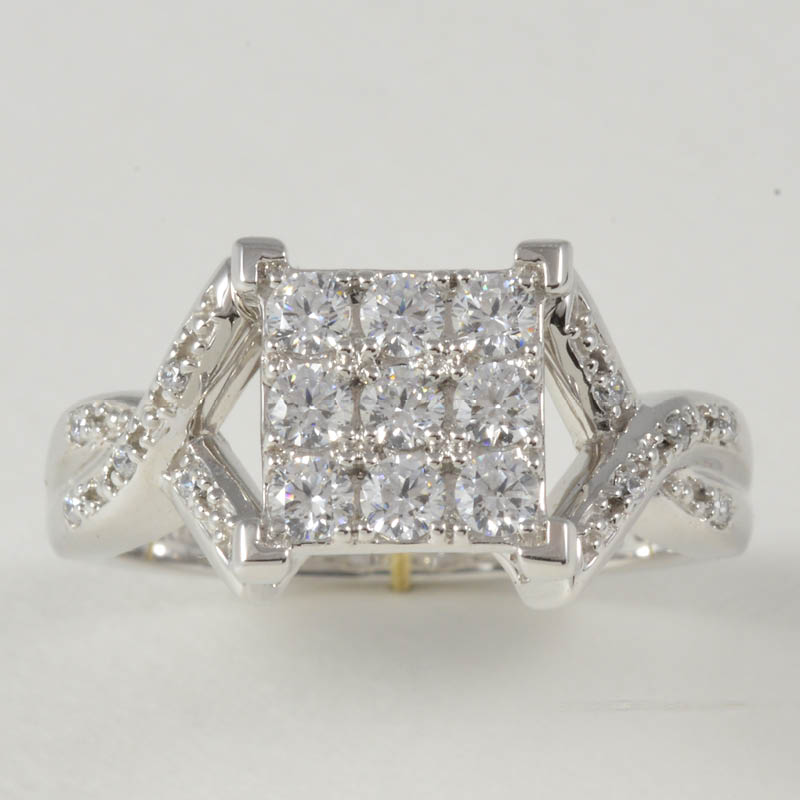 10KT Ring with White Sapphires and Accent Diamonds