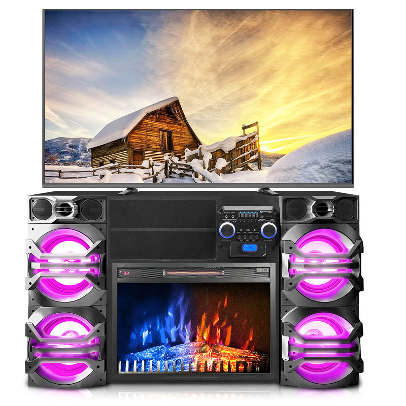 Fireplace, TV Stand, Speakers ALL IN ONE!