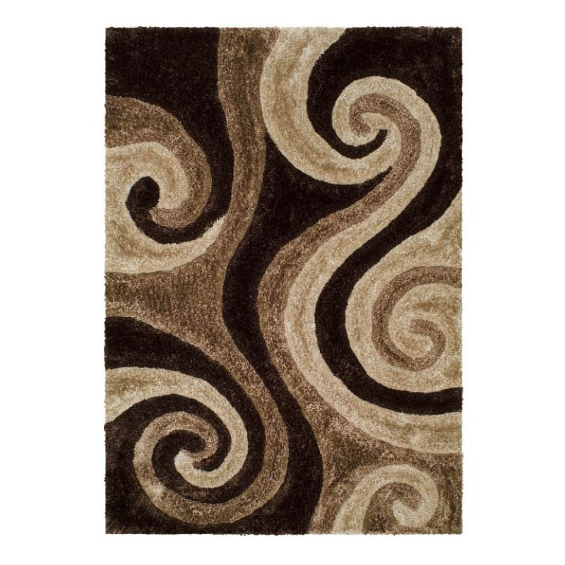 5' x 7' Transitional Rug with Brown Swirl Pattern