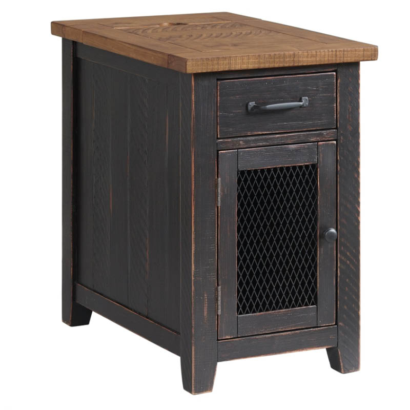 Rustic Antique Black and Honey Chairside End Table with Power